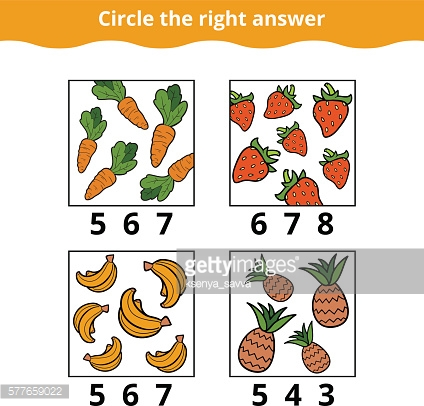Counting Game for Children about fruits and vegetables