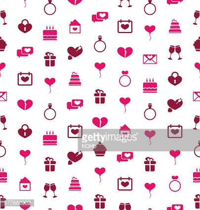 Seamless Background with Traditional Objects for Valentines Day