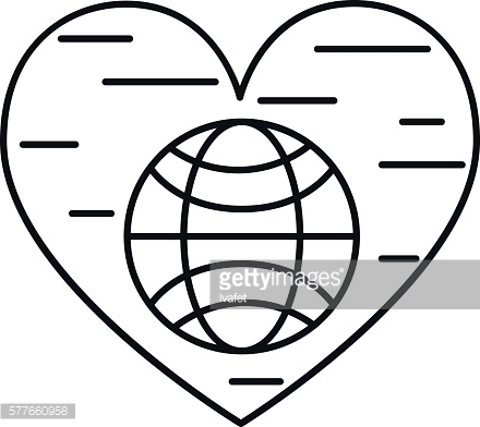 Planet and heart line icon