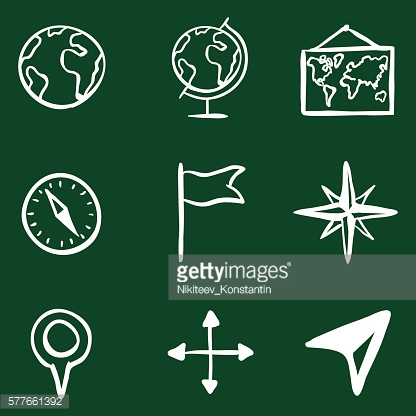 Vector Doodle Geography Icons Set