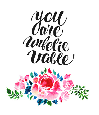 Watercolor hand drawn floral card design template.