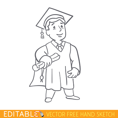 Graduate. Editable vector graphic in linear style