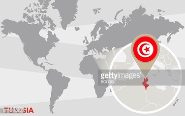 World map with magnified Tunisia. Raster illustration.