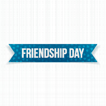 Friendship Day realistic blue paper Ribbon