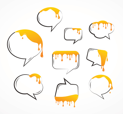 dropping honey from speech bubbles. vector illustration set