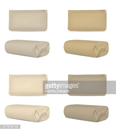 Brown blank foil or paper packaging isolated on white background
