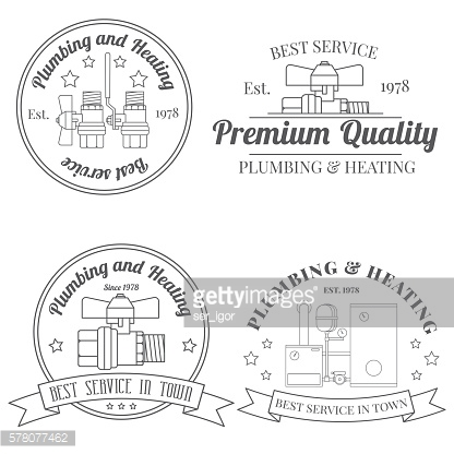 Vintage logos, labels and badges Plumbing & Heating Services.