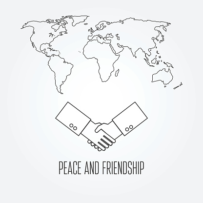 Peace and friendship concept icon thin line for web