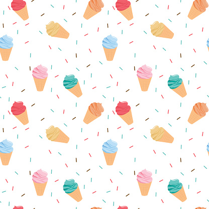 Seamless colorful ice cream pattern.
