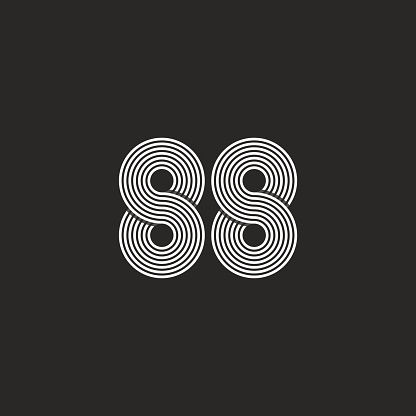 Number 88 hipster logo, monogram black and white intersection thin