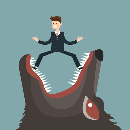 businessman fall into a trap devil wolf. vector