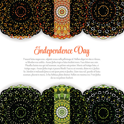 Creative Indian Independence Day concept with mandal decorative floral pattern