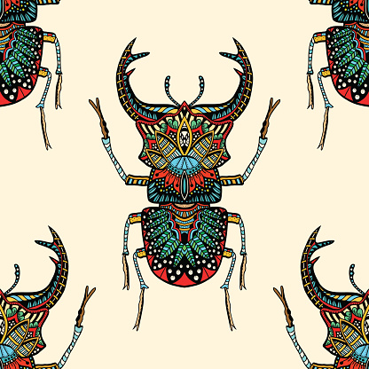 seamless pattern with beetle