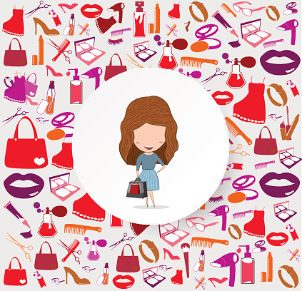 Girl with shopping bags on cosmetic