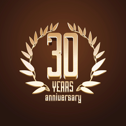 30 years anniversary vector icon