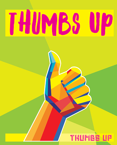 Thumps Up-  low poly - Pop art