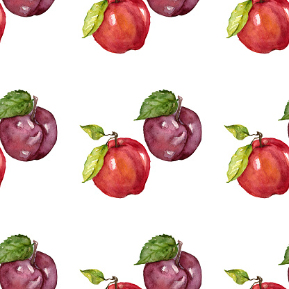 Watercolor seamless pattern with fruits Apple Plum