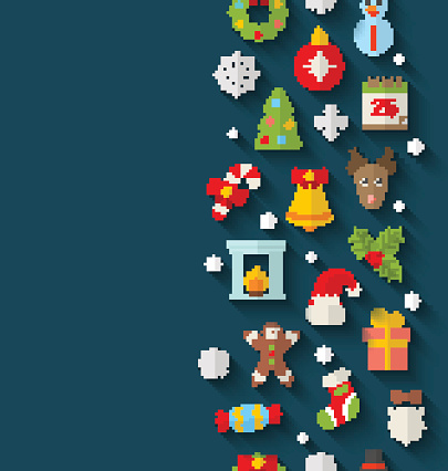 Christmas Flat Icons with Long Shadows