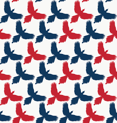 Seamless pattern, bird contour with spread wings, front view.