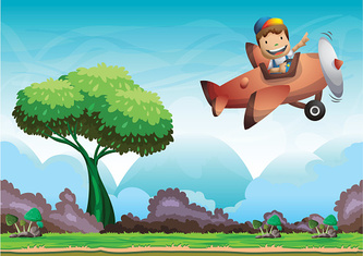 Cartoon vector kid on a plane background with separated layers