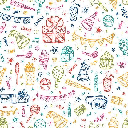 Holiday seamless pattern with Festive attributes