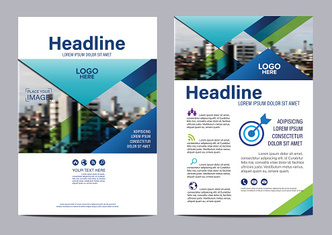Blue Brochure Layout design template. Annual Report Flyer illustration vector