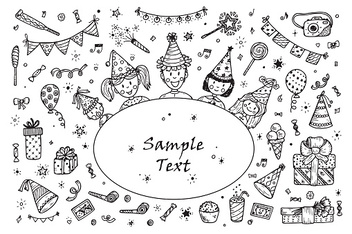 Happy Birthday card Template. Hand drawn doodle Birthday Party elements.