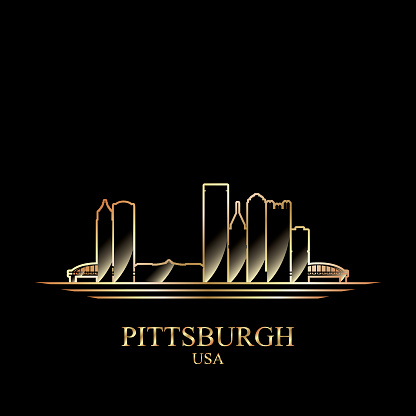 Gold silhouette of Pittsburgh on black background