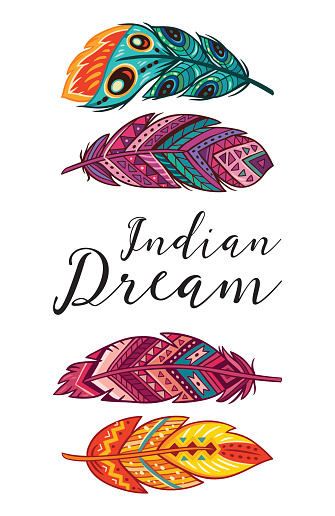 Indian Dream. Vector card with ethnic decorative feathers
