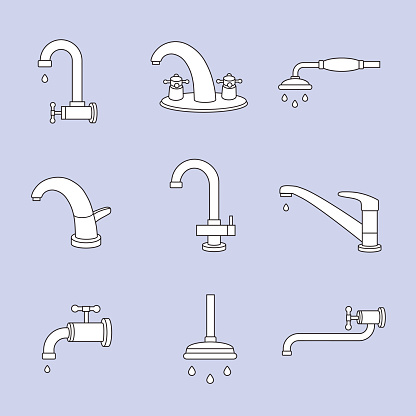 Water tap or faucet line icons. Plumbing and equipment, valve