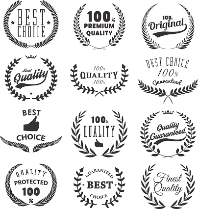quality, guarantee emblems and labels.