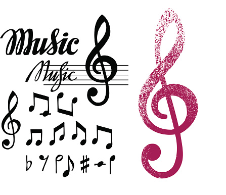 Notes and treble clef. Set of music design elements or