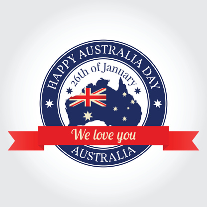 We love you Australia badge, label, rubber stamp, greeting