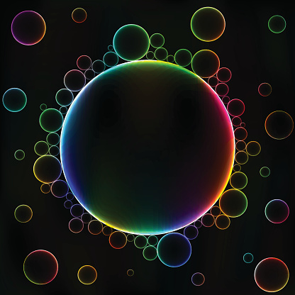 Many colorful bubbles, unusual dark abstract vector background