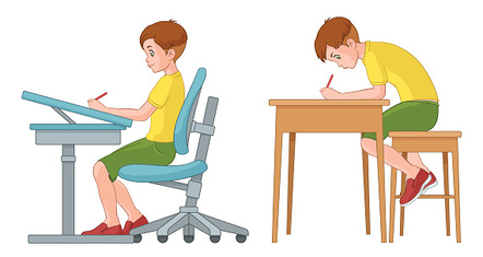 Incorrect and correct sitting position of student. Vector illustration.