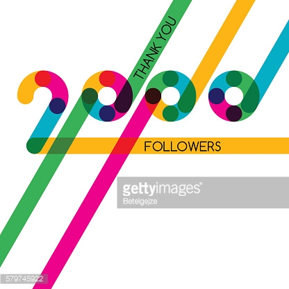 Thanks 2000 follower, vector banner, poster for blogs, social networks.