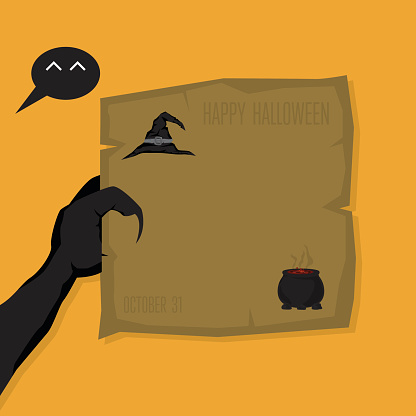 happy halloween, black monster hand with brown card