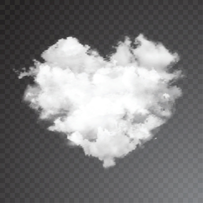 Realistic vector cloud heart with sun.