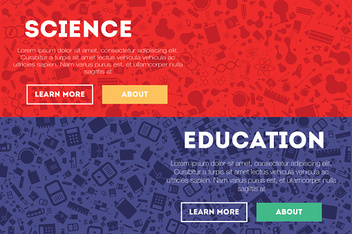 Science, concept header, flat design glyph style