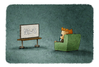 amazed man  watching the news on TV