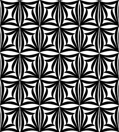 Abstract floral seamless pattern. Geometric line ornament. Ornamental stylish background
