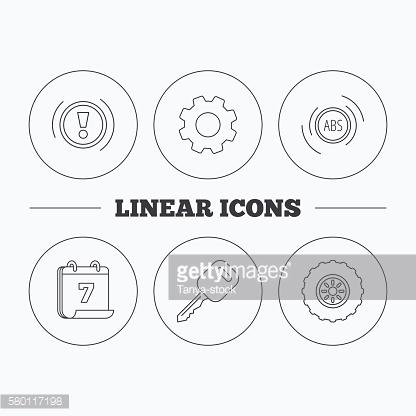 Car key, abs and wheel icons.