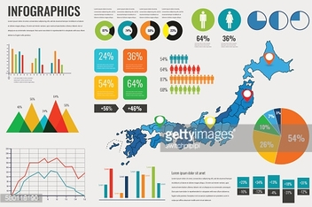 Japan map with Infographics elements. Infographics layouts. Vector