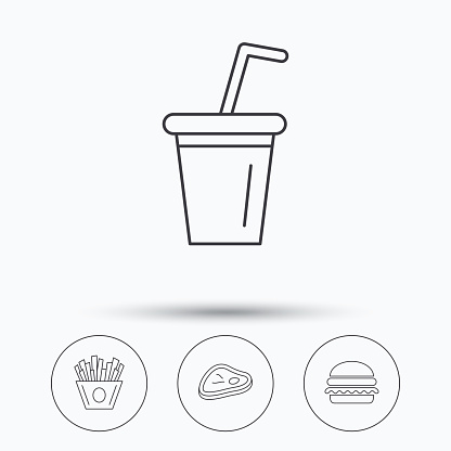 Hamburger, meat and soft drink icons.