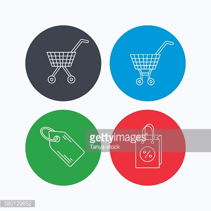 Shopping cart, discounts bag and price tag icons.