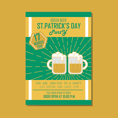 Poster, Flat banner or background St. Patrick's Day Green beer