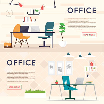 Office interior with designer desktop, business workspace in the office.