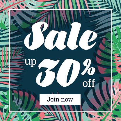 Summer sale. Web-banner or poster with palm leaves. EPS