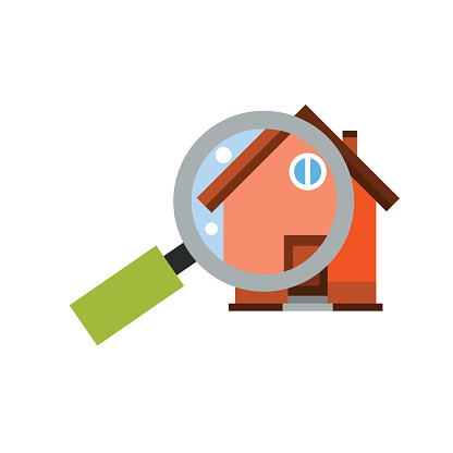 Magnifying Glass in Front of House Icon
