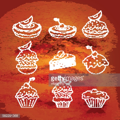 Set of contour icons of different types of cakes